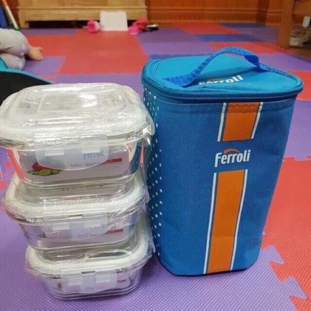 [TẶNG KÈM TÚI GIỮ NHIỆT] Bộ bát thủy tinh dùng cho lò vi sóng Ferroli (bát 500ml, 3 cái )-Bộ 3 hộp thủy tinh chịu nhiệt Ferroli kèm túi giữ nhiệt