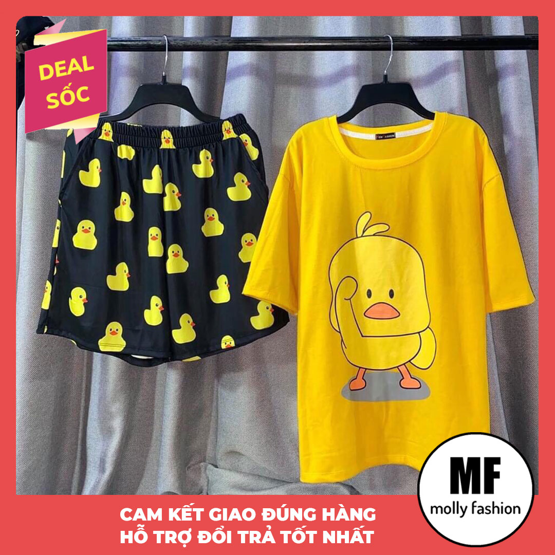 [HCM]Đồ bộ nữ hoạt hình Vịt vàng kiểu set đi chơi - mặc nhà form rộng Unisex Freesize nam nữ mặc được Molly Fashion (nhiều mẫu)