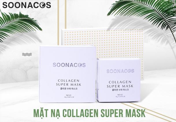 [XẢ KHO] tặng mặt nạ Mắt Collagen - Mặt nạ Collagen tươi SOONACOS Hàn Quốc (hộp 20 viên) MẶT NẠ VIÊN NÉN COLLAGEN SUPER MASK - LƯU GIỮ VẺ THANH XUÂN