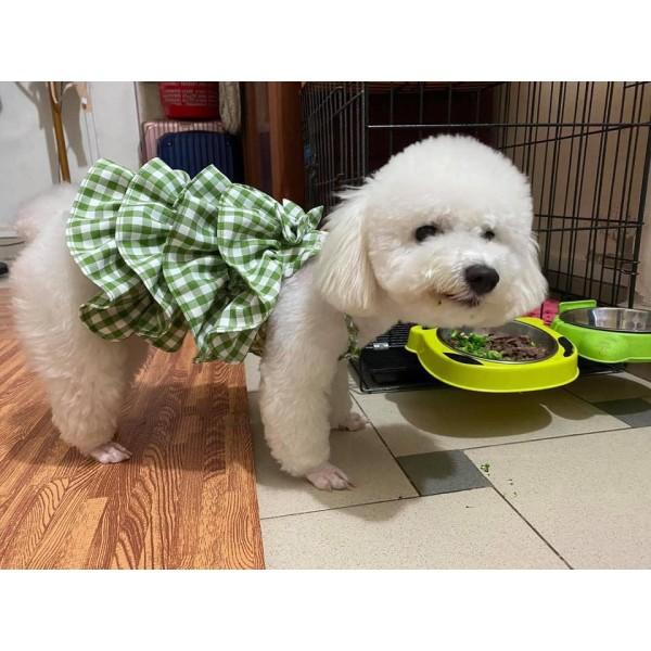Đầm dây caro 4 tâng cho chó mèo thú cưng yudog