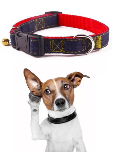 Vòng cổ chó vải bò loại 3 lớp bền chắc cho mọi loại chó (màu ngẫu nhiên)