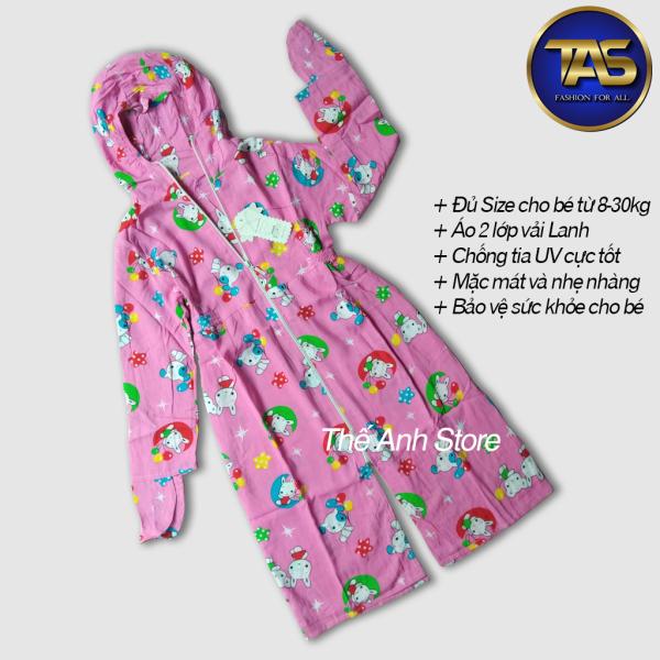 Giá bán Áo chống nắng toàn thân 2 lớp vải lanh cho bé gái Mã HD005