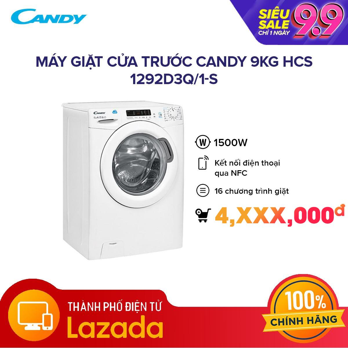 Máy giặt cửa trước Candy 9kg HCS 1292D3Q/1-S - Kết nối thông minh NFC với Smart Phone điều khiển chế độ giặt