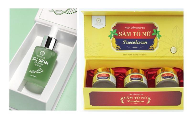 Bộ đôi sản phẩm Sâm Tố Nữ Puecolazen và Serum Ric Skin HA + Nano Vàng 24k