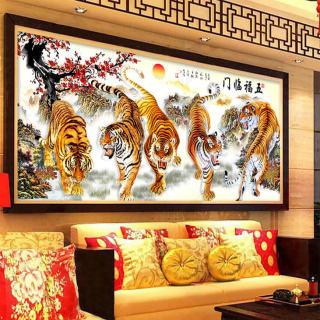 Tranh treo tường ngũ hổ hạ sơn in trên canvas chất lượng cao, là bức tranh trang trí đẹp có độ bền màu cao (40004271) thumbnail