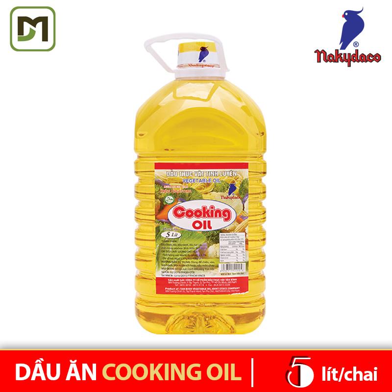 Dầu ăn Cooking Oil chai 5L dầu thực vực tinh luyện - Nakydaco hãng phân phối