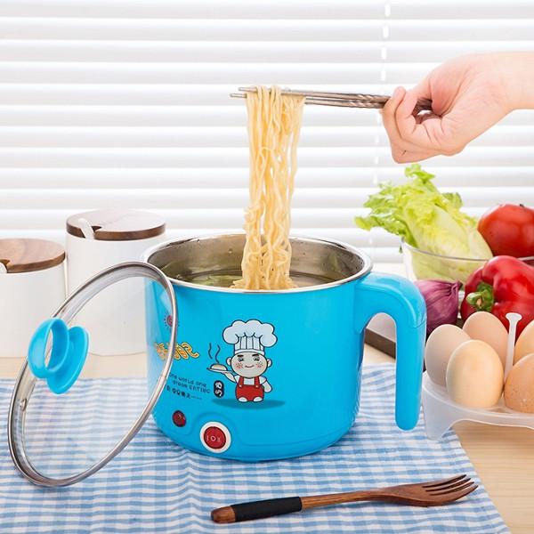 Ca nấu mì và nâu siêu tốc mini 2 lớp 1,8L kiểu dáng hiện đại và sang trọng, giúp bạn nấu nhanh hơn, tiết kiệm thời gian chăm sóc gia đình