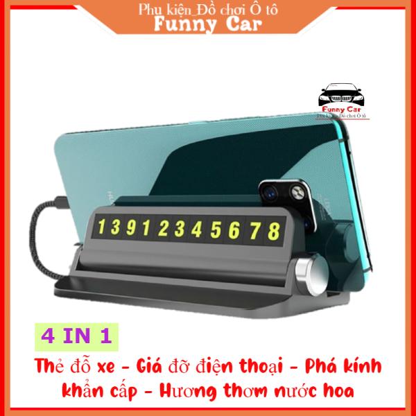 [HOT] Thẻ đỗ xe hiển thị số điện thoại, Tích hợp phá kính khẩn cấp, Giá đỡ điện thoại, Hương nước hoa trong xe Ô tô, 4 tiện ích trong 1 sản phẩm