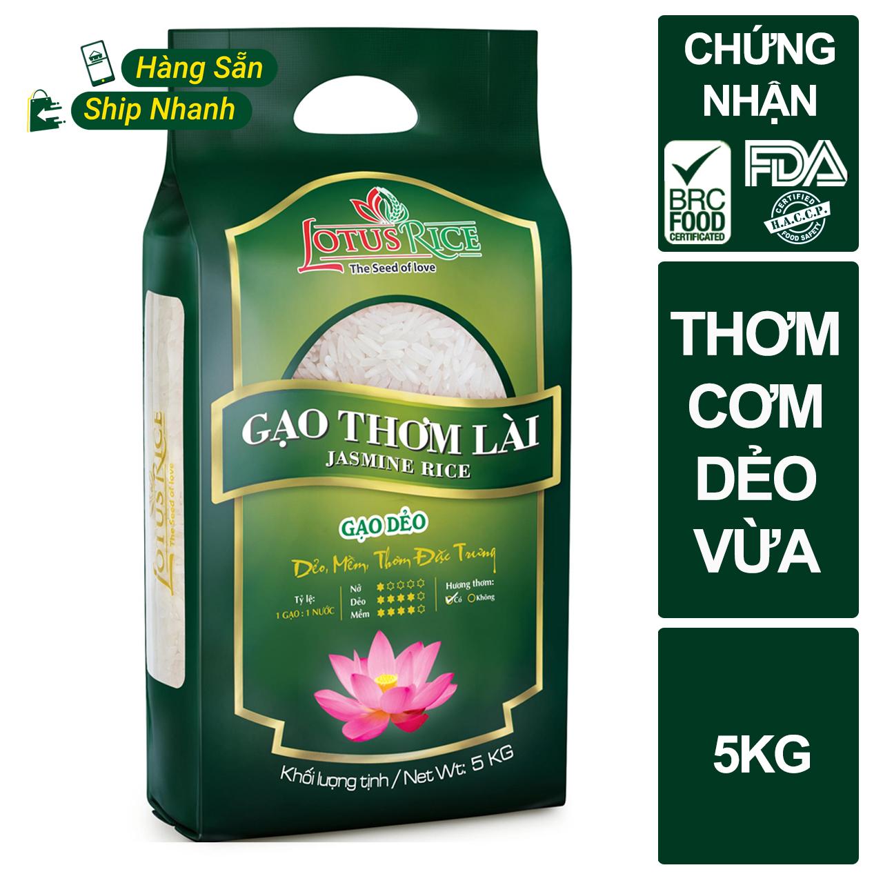 [TOP 1 GẠO ĐƯỢC QUAN TÂM] Gạo Thơm Lài Lotus Rice 5kg - Gạo thơm dẻo vừa - Gạo ngon sạch chuẩn xuất khẩu