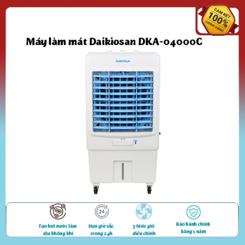 Máy làm mát Daikiosan DKA-04000C-Loại quạt: Quạt điều hòa ,diện tích làm mát 25 – 30 m2., Tạo hơi nước làm dịu không khí,Tốc độ gió: 3 mức, hàng chính hãng giá hấp dẫn