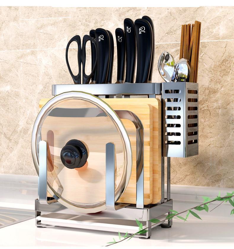 giá cài dao thớt - giá cài dao - kệ để dao thớt nhà bếp - giá cài dao đũa thìa inox (24 cm * 24cm * 13cm) Nhật Bản
