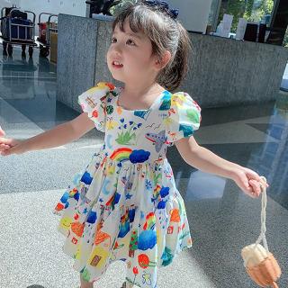 Zhihuida Váy Bé Gái 1-7 Tuổi Đầm Graffiti Dễ Thương Cotton Cho Trẻ Em Đầm Hở Lưng Mùa Hè Cho Bé Gái, Váy Đầm Trẻ Em Cho Bé Gái
