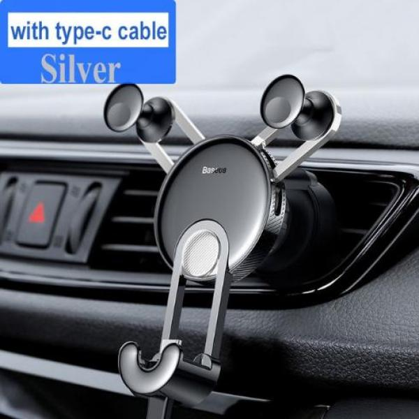 Giá đỡ điên thoại trên xe ô tô Baseus với chân sạc usb to type-C cho điện thoại di động - Phân phối bởi Baseus Vietnam