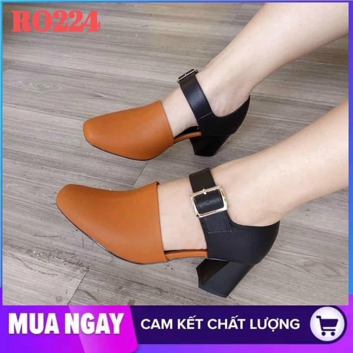 Giày sandal nữ cao gót 5cm hàng hiệu rosata hai màu đen nâu ro224