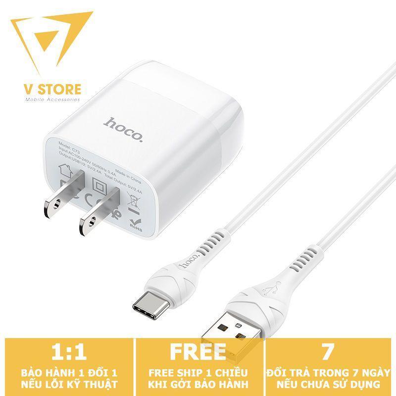 BỘ SẠC NHANH 2 CỔNG USB TYPE-C 2.4A HOCO C73 - DÀI 1.0M - MÀU TRẮNG
