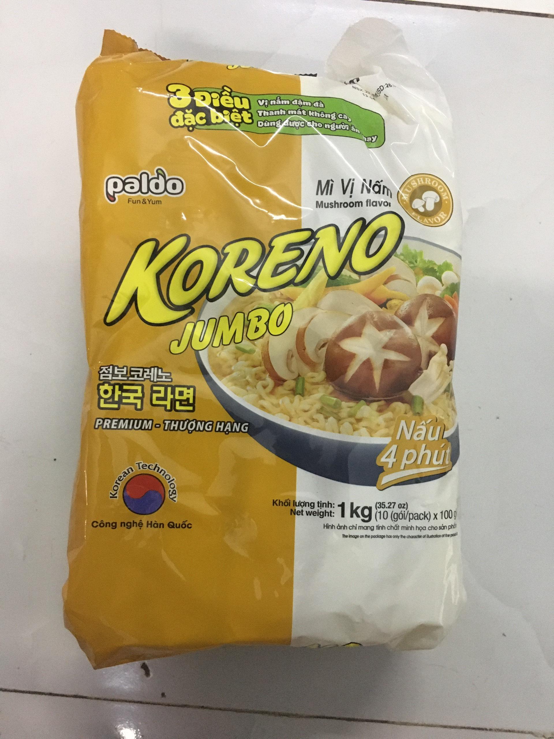 [HCM]Mì Chay Koreno Jumbo Vị Nấm 10 Gói 100G