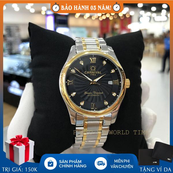 Nơi bán Đồng hồ nam dây thép, đồng hồ cơ Carnival 8671G mặt kính saphire chống xước, fullbox và bảo hành 3 năm