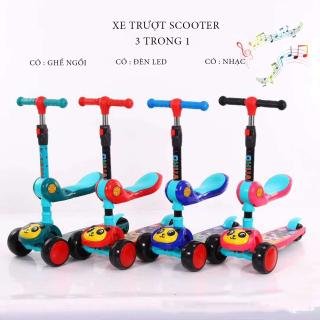 Xe Trượt, Xe tròi chân Scooter có nhạc có đèn led 3 Trong 1, Bánh Phát Sáng Cho Bé Từ 3 - 8 Tuổi Tải Trọng Lên Đến 100kg, Đồ Chơi hoạt động thể chất cho bé thumbnail