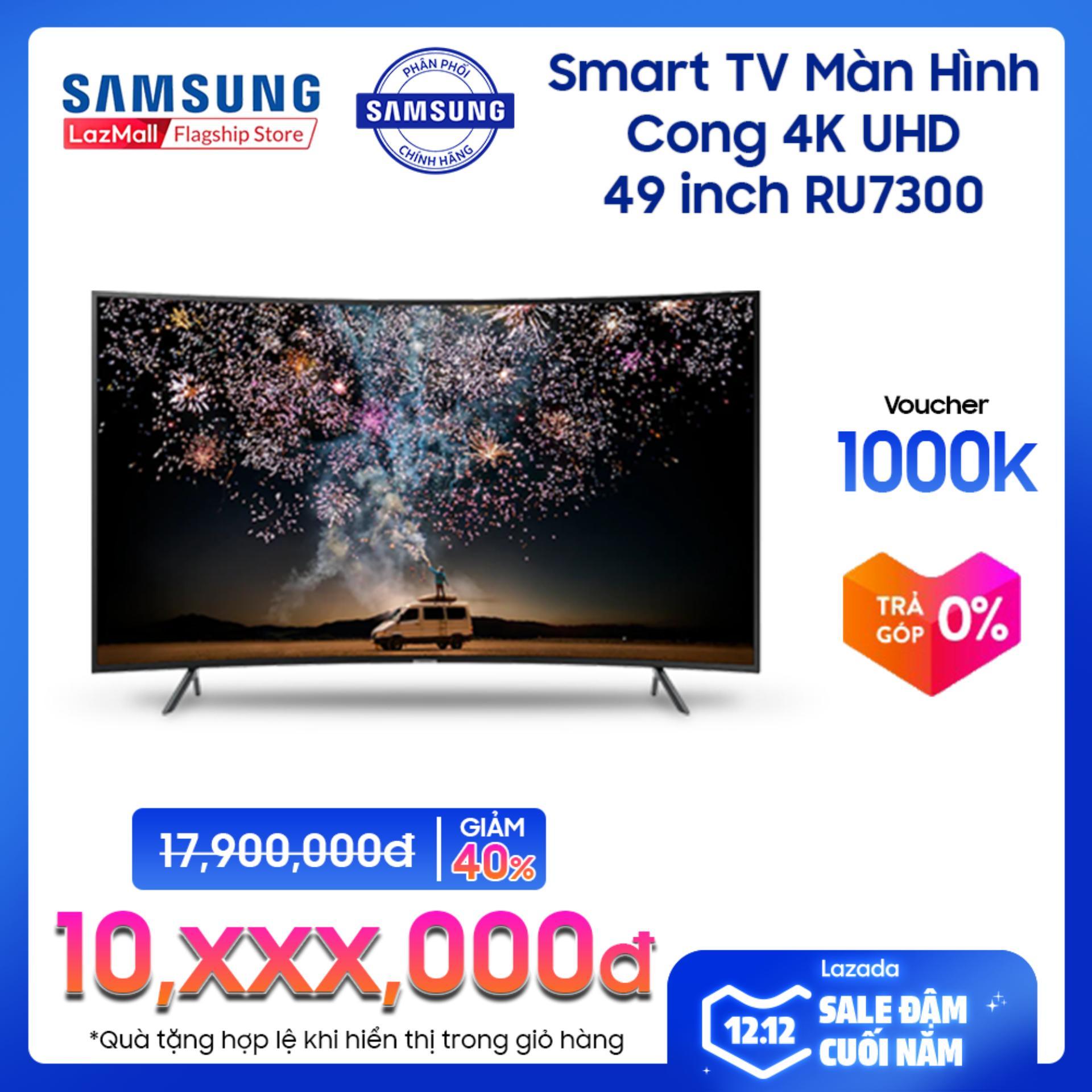 Giá Cực Tốt Khi Mua Smart TV Samsung Màn Hình Cong 4K UHD 49inch - Model UA49RU7300KXXV (2019) - Cải Tiến Màu Sắc PurColor + Bộ Xử Lý Hình ảnh 4K UHD HDR - Hàng Phân Phối Chính Hãng