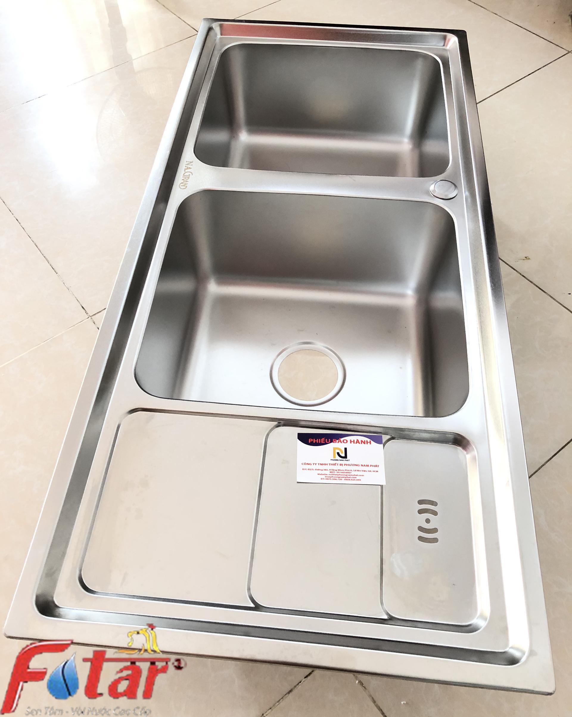 Chậu Rửa Chén Bát INOX SUS 304 N9 10046 NA.GRAND và Bộ Xả Chậu thoát nước