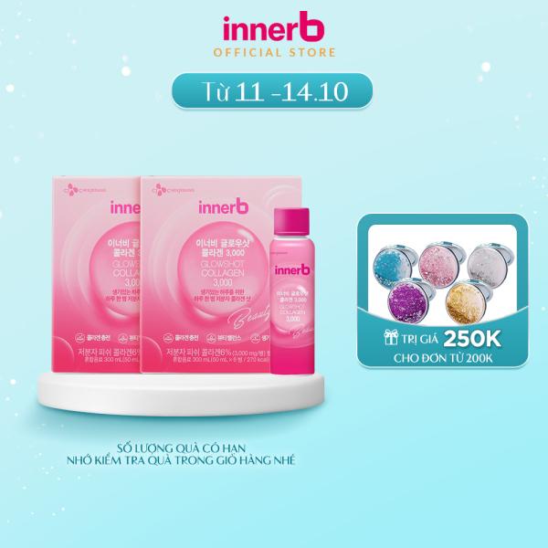 Combo 2 Hộp 6 chai nước uống Collagen Vitamin C sáng da InnerB Glowshot (50mlx6) cao cấp