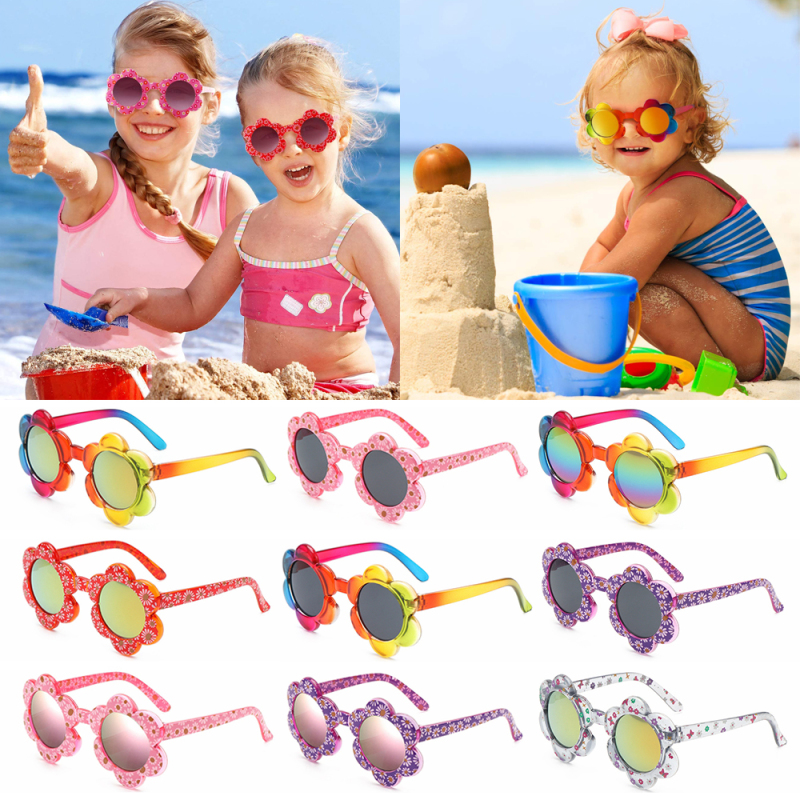 Giá bán PHYSILOLOGY UNINHABITED86ED8 Cute Colorful Travel Party Favors Sunglasses for Toddler Girls Boys Flower Shaped Round Flower Sunglasses Kids Sunglasses