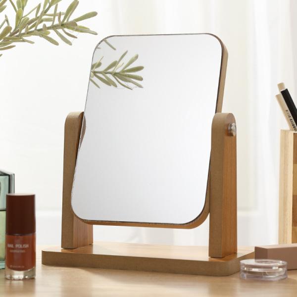 Gương trang điểm để bàn cao cấp gương soi di động bằng gỗ xoay gập tiện lợi phong cách châu Âu 6 mẫu thời trang - Tặng kèm băng đô trang điểm bằng lụa màu ngẫu nhiên