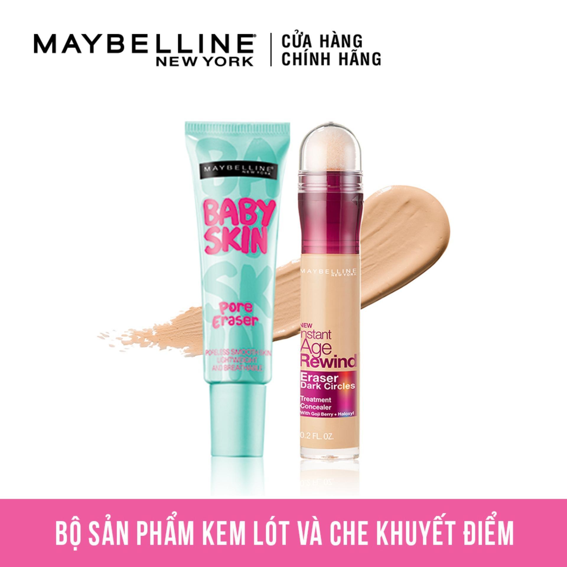 Bộ đôi Kem lót mịn da Baby Skin + Bút Che Khuyết Điểm Instant Age Rewind Maybelline New York (Tông sáng) nhập khẩu
