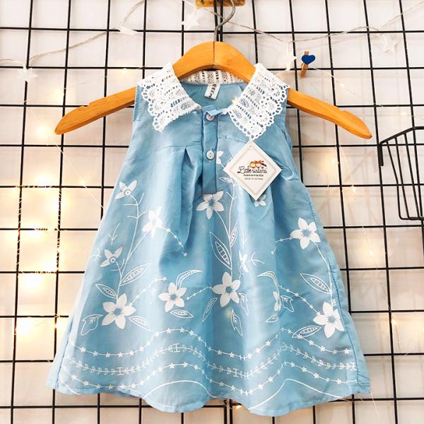 Đầm sóng xanh chất đũi nhẹ mềm mát cho bé gái 1-7 tuổi phối ren ở cổ và họa tiết thêu cực nữ tính đáng yêu BBShine – D069
