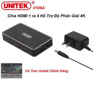 Unitek V109A - Bộ Chia HDMI 1 ra 4 Độ Phân Giải 4K HD Hỗ Trợ 3D Khoảng Cách Truyền Lên Tới 30m Kèm Nguồn thumbnail