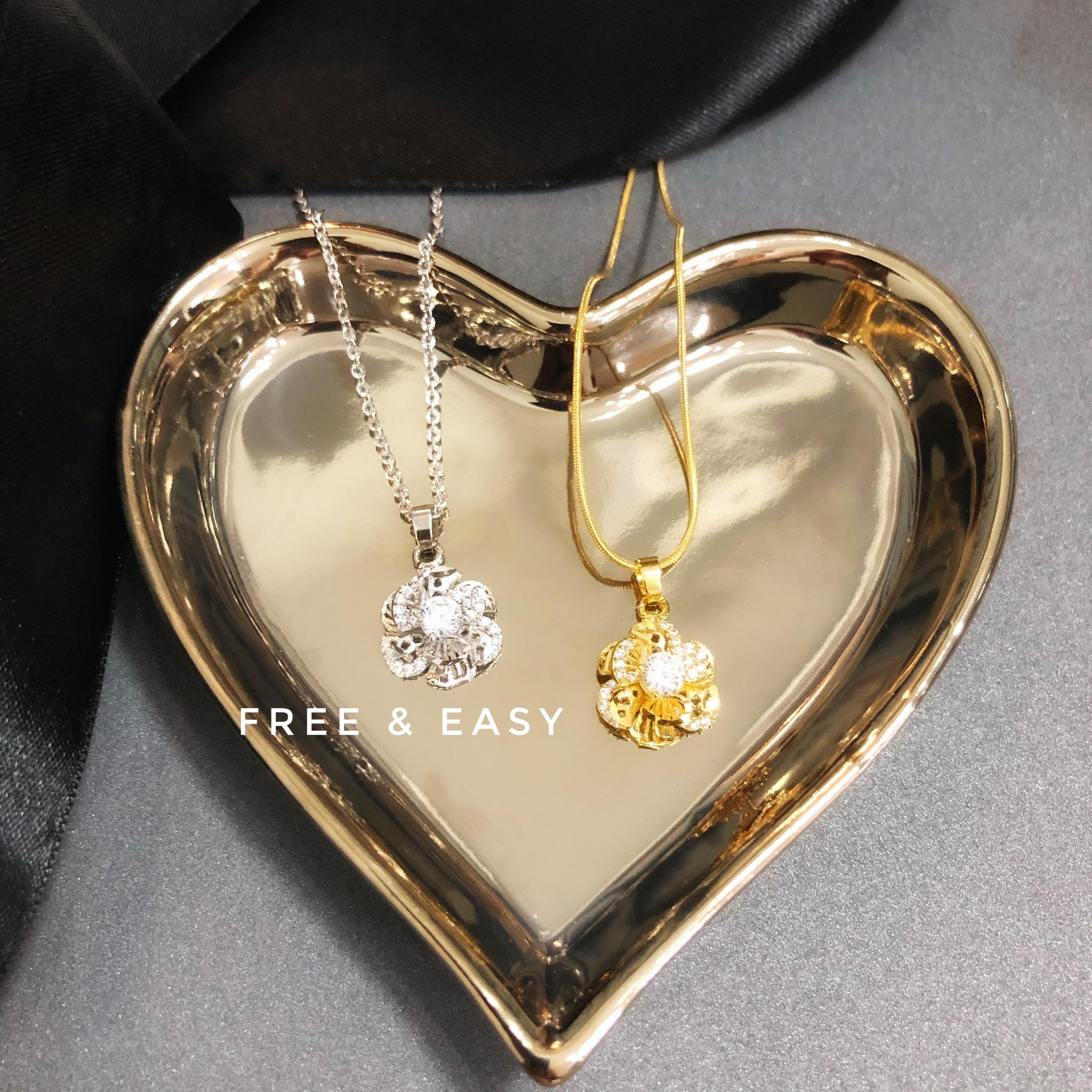 [HCM]Dây chuyền nữ cả dây và mặt chỉ 69K mạ vàng 18K cao cấp FREE & EASY  dây có 2 màu vàng và xi bạch kim  giống vàng thật 99% cho độ sáng lấp lánh cao cam kết không đen không bay màu đeo cực sang chảnh