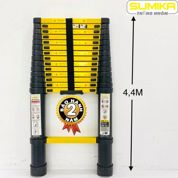 Thang nhôm rút đơn 4,4m Sumika Kích thước thang: 94x49.5x10 cm Chiều cao tối đa: 4.4 m Chiều dài thu gọn: 0.92 m Trọng lượng thang: 12.3 Kg  SK440 SKS440