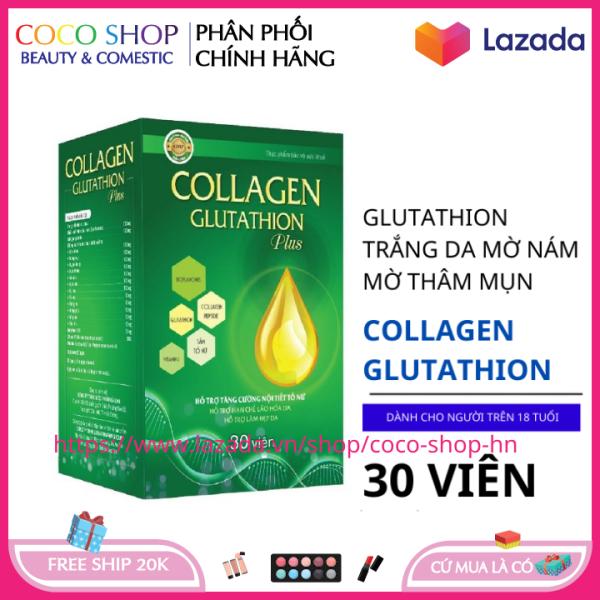 Viêng uống trắng da Ngọc Trinh Collagen Glutathion Plus giúp da khỏe đẹp căng bóng chống lão hóa hộp 30 viên HSD 2023