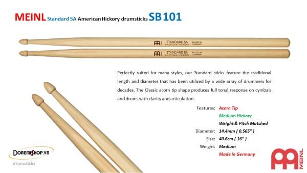 Dùi trống MEINL Standard 5A American Hickory drumsticks SB101