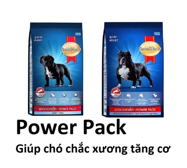 (2 loại) Gói 1 kg-Thức ăn chó tăng cơ chắc xương SMARTHEART POWER PACK (hàng xuất xứ thailand) chó bẹc-giê chó rốt Pit Bull