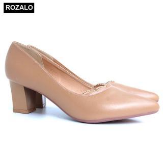 Giày cao gót vuông 5P đính đá mũi nhọn Rozalo R5645 thumbnail
