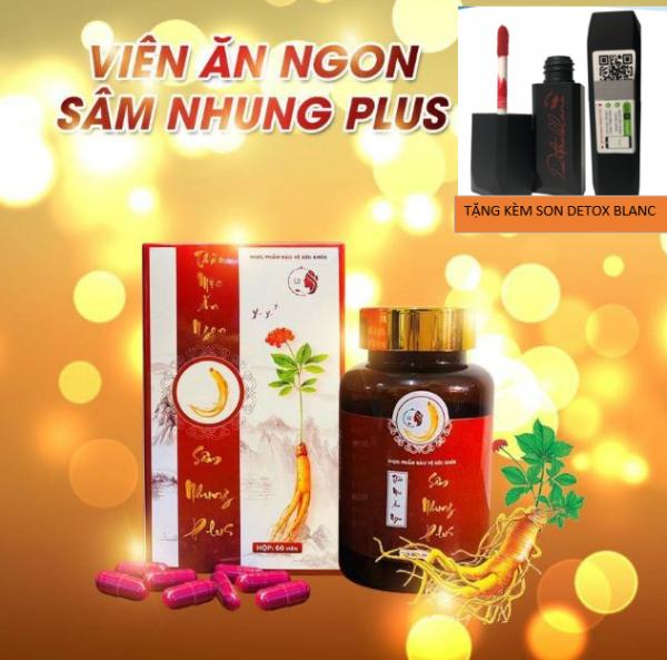 Thảo mộc ăn ngon Sâm nhung Plus – Giải pháp hỗ trợ ăn ngon bảo vệ sức khoẻ liệu trình 60 viên + tặng kèm son detox blanc siêu xinh