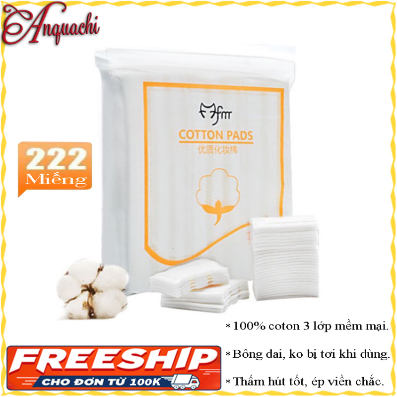 [HÀNG ĐẸP]Bông tẩy trang cotton pads 222 - Bông dày 3 lớp, ép viền chắc chắn, không bị tơi khi sử dụng - Ngoài tác dụng tẩy trang thì còn có thể dùng để lau nước hoa hồng, dưỡng lotion, đăó mặt nạ - Anquachi - Mỹ phẩm Hàn Quốc nhập kh�