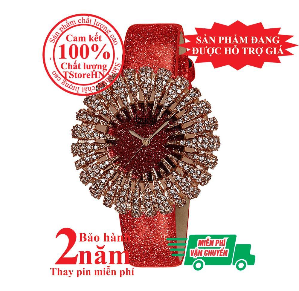 Nơi bán Đồng hồ nữ BURGI bông tuyết BUR112RD, vỏ màu Vàng hồng (Rose Gold), mặt đỏ, nạm pha lê Swarovski cao cấp, dây da đỏ, size 41mm- Model: BUR112RD