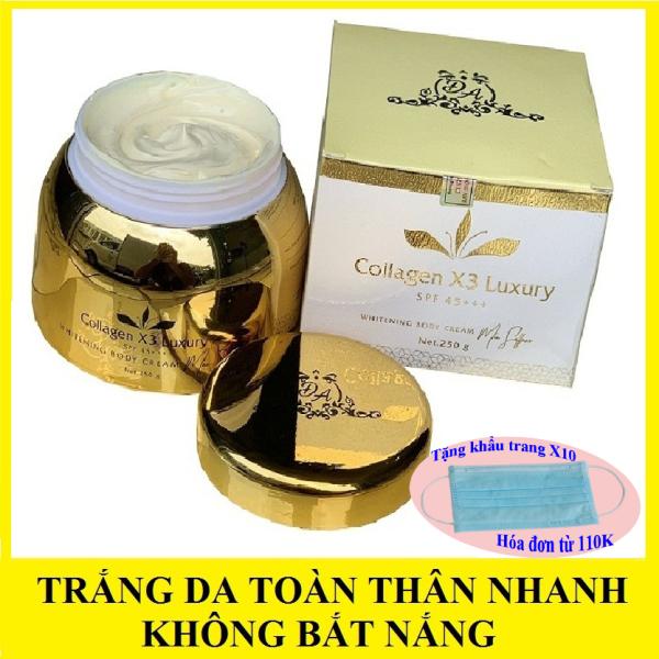 Kem body collagen x3 đông anh màu vàng làm trắng da toàn thân nhanh không bắt nắng 250g giá rẻ