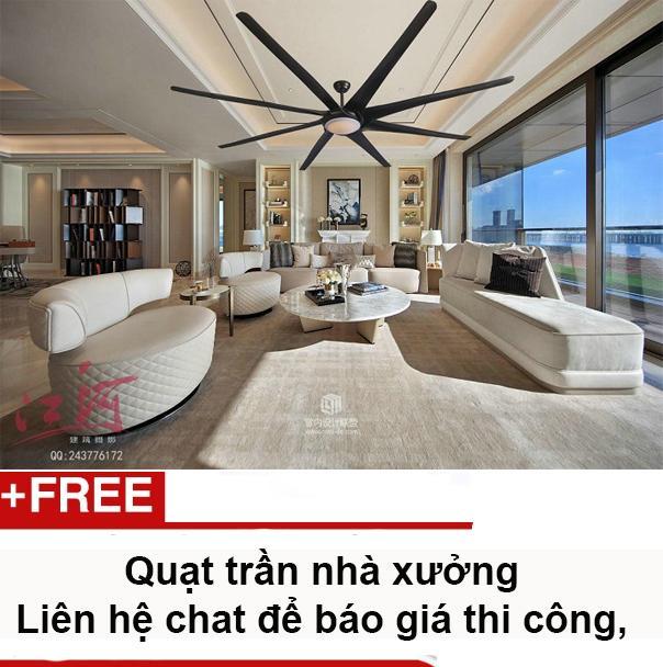 Quạt Trần Công Nghiệp, Quạt Trần khu nghỉ dưỡng, resort với sải cánh dài 2.5 mét Hengshengli F5802 (2 màu đen và bạc)
