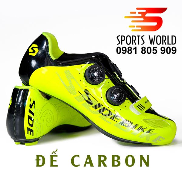 Giày can đạp xe, đế carbon, 2 khóa vặn, dòng Road - SIDEBIKE SD-02-Vàng Neon - SPORTS WORLD SHOP