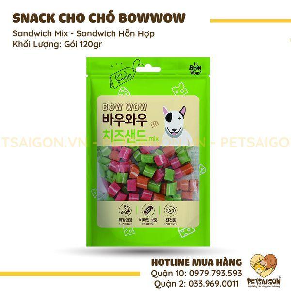 SNACK BOWWOW SANDWICH HỖN HỢP CHO CHÓ 120GR