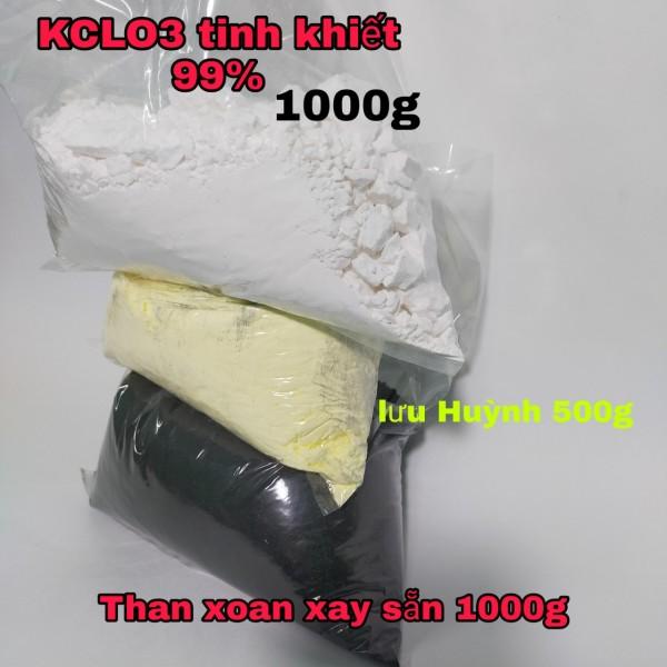 com bo 3 loại phân bón kclo3 1kg + luu huynh 500g + than 1kg hàng chuẩn 1000%