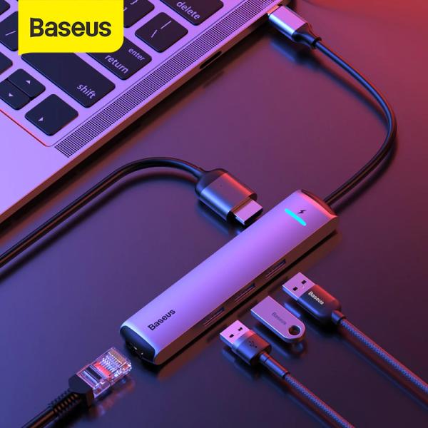 Bảng giá Bộ USB C Hub Baseus Mechanical Eye 6 in 1 mở rộng cổng kết nối USB 3.0 , HDMI 4K ,Lan RJ45, Cổng PD 87W cho điện thoại Huawei, Samsung, Laptop , Macbook , máy tính bảng ... Phong Vũ