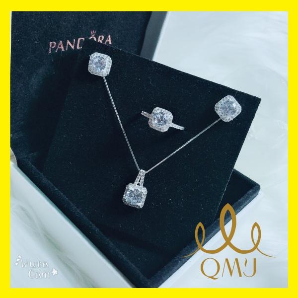 Bộ bạc đẹp QMJ  Đá vuông xinh xắn nạm đá tấm ổ đá chủ sáng lấp lánh thiết kế đơn giản nhung sang trọng bạc 925 cao cấp, [CHUẨN BẠC] QB020