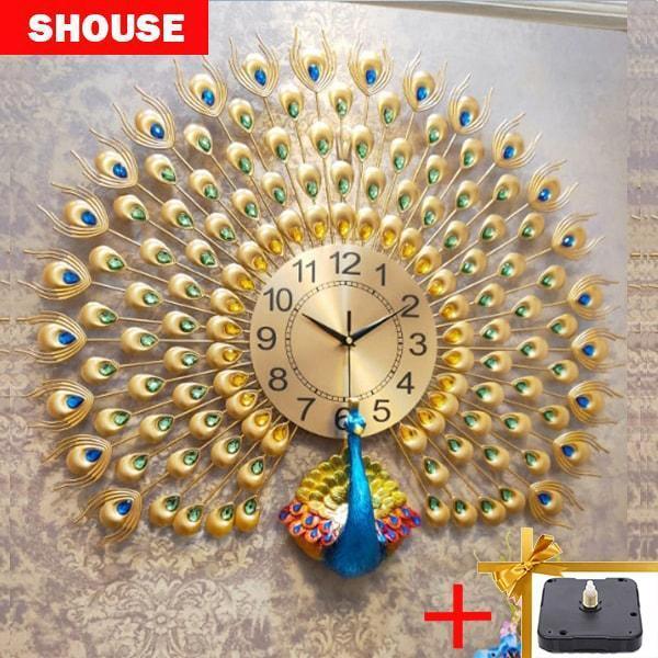 Đồng hồ treo tường SHOUSE A25 tặng máy kim trôi thay thế, hình con công hiện đại, chất liệu kim loại màu vàng, kích thước 72cm bán chạy