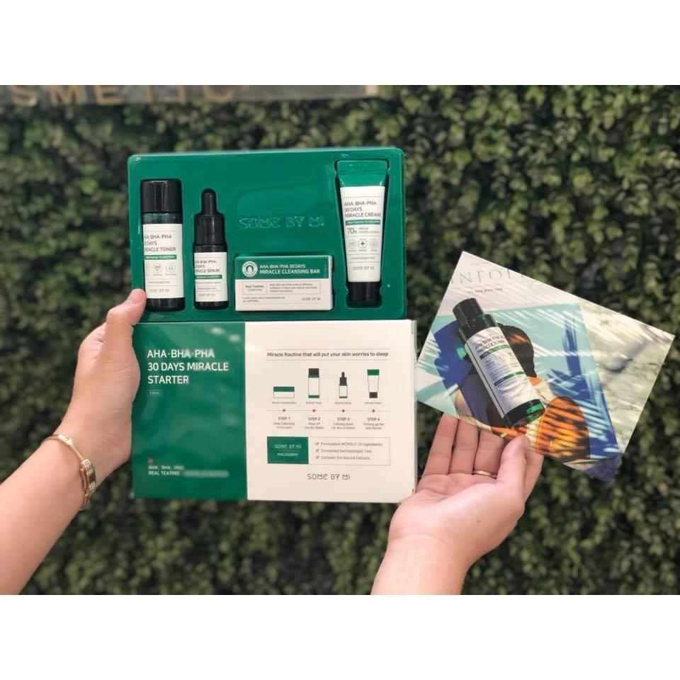 Set Mini 4 Món Trị Mụn Some By Mi AHA - BHA - PHA 30 Days Miracle Starter Kit [Trị sạch mụn trong 30 ngày] nhập khẩu