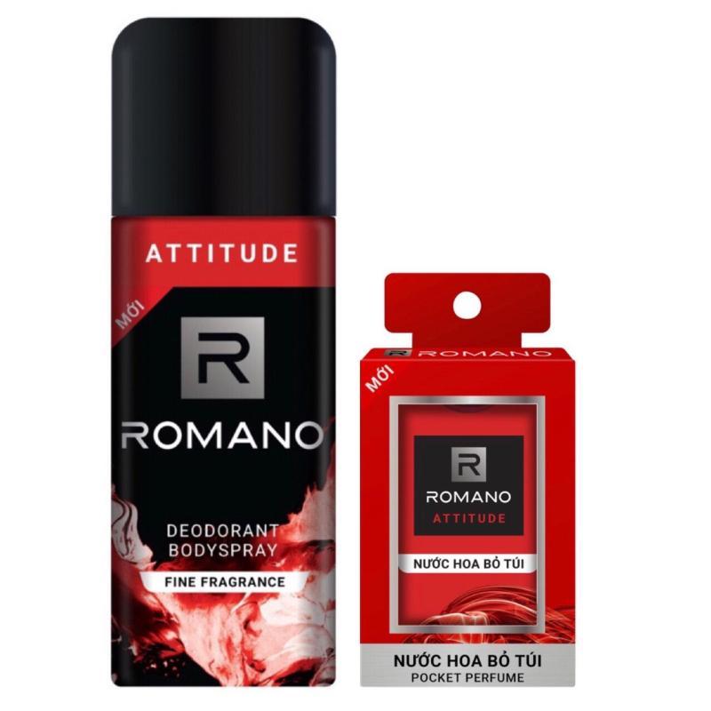 Combo xịt khử mùi toàn thân cho Nam Romano Attitude 150ml+Nước hoa bỏ túi Attitude 18ml