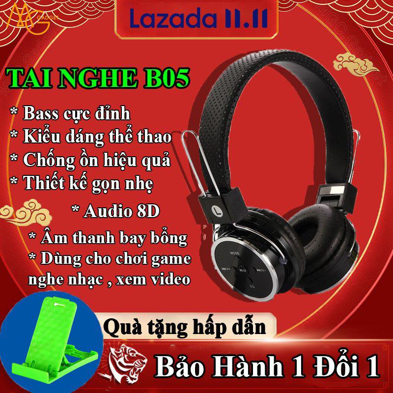 Tai nghe Bluetooth Chụp Tai B05-thời sử dụng 7-8h-Tai nghe-tai nghe bluetooth hỗ trợ thẻ nhớ-có míc đàm thoại-tai nghe không cần pin với dây cắm 3.5-kết nối 10m-chống va đập-hỗ trợ Fm-thẻ nhớ-Gấp nhỏ Ghọn-Quà tặng hấp dẫn